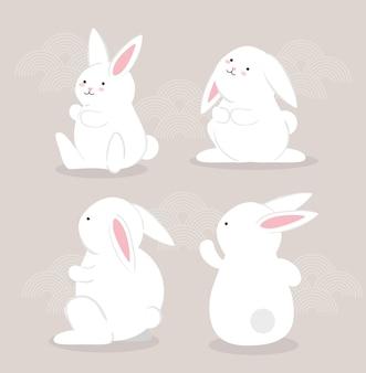 Satz kaninchen-tierikonen