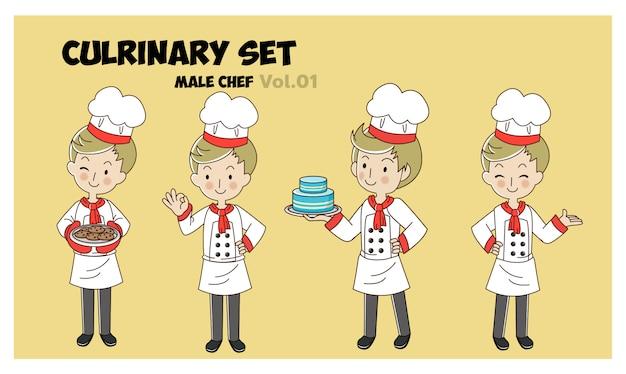 Satz karikatur der illustration der karikaturfigur, männlicher koch, kochende köche. professioneller kochsatz.