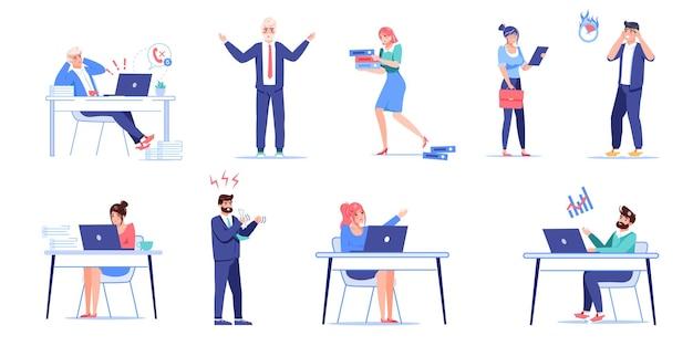 Satz karikatur-flachboss, mitarbeitercharaktere bei arbeitsszenen.
