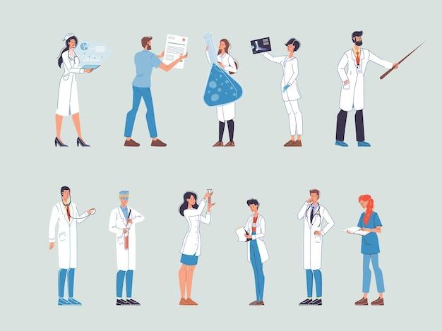 Satz karikatur flache doktorfiguren bei der arbeit