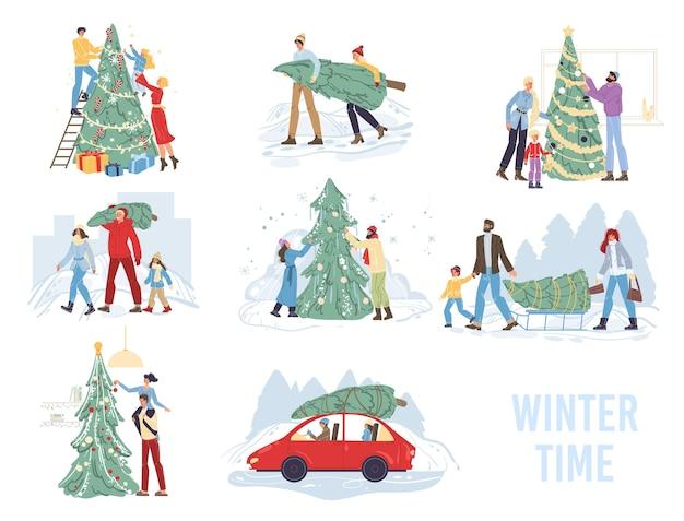 Satz karikatur glückliche familienfiguren tragen und verzieren weihnachtsbaum, frohe weihnachten, glückliches neues jahr feiertagskonzept