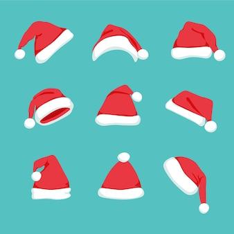 Satz karikatur rote weihnachtsmützen lokalisiert. wintermütze. weihnachten und neujahr urlaub mascarade kostüm
