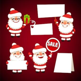 Satz karikatur santa clauses, halten weiße leere fahnen