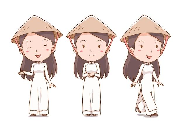 Satz karikatur vietnamesisches mädchen in traditioneller tracht.