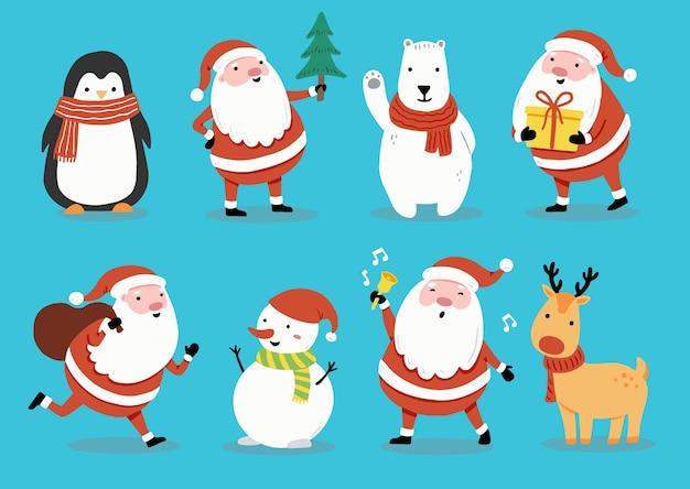 Satz karikatur-weihnachtsmann, hirsch, schneemann, pinguin für weihnachtsfahne, grußkartenillustration. glückliche niedliche charakterweihnachtssammlung.