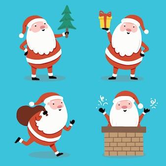 Satz karikatur-weihnachtsmann in verschiedenen posen für weihnachtsfahne, grußkartenillustration. santa charaktersammlung.