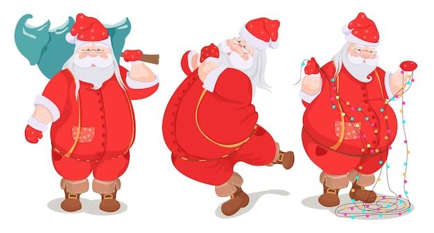 Satz karikatur-weihnachtsmann