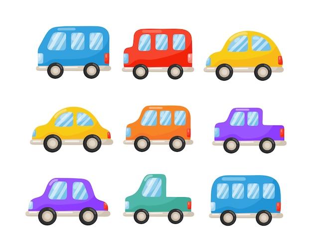 Satz karikaturautos lokalisiert auf weiß. abbildung vektor.