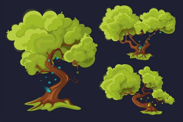 Satz karikaturbäume.