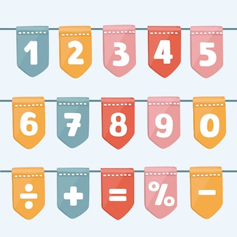 Satz karikaturfahnengirlanden mit buchstaben und zahlen des alphabets. gut für veranstaltungen, feiern, festivals, messen, märkte, partys und karneval.