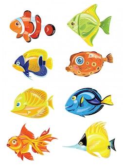 Satz karikaturfisch. sammlung von niedlichen farbigen fischen. meeresbewohner.