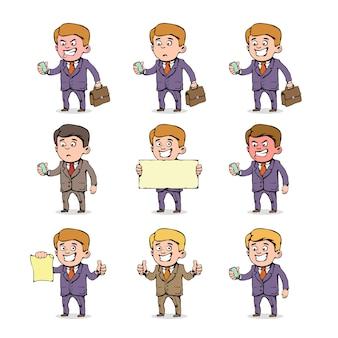 Satz karikaturgeschäftsmann