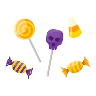 Satz karikaturhalloween-süßigkeiten