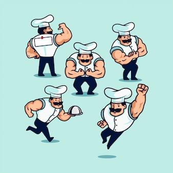 Satz karikaturillustration eines bodybuilding-bodybuilder-kochs