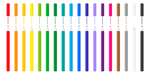 Satz karikaturillustrationen mit farbigen filzstiften auf weißem hintergrund. zurück zur schule.