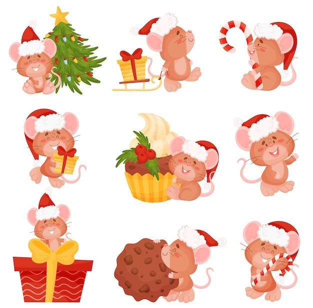 Satz karikaturmäuse in einer weihnachtsmütze