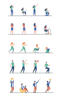 Satz karikaturmenschen in verschiedenen posen der aktivität