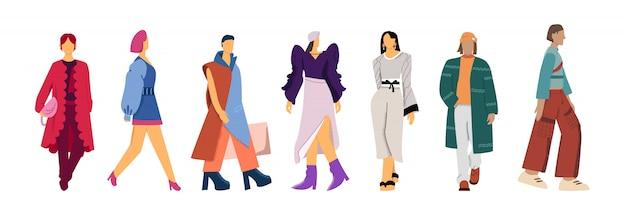 Satz karikaturmode-modelle kleidet flache illustration der darstellung