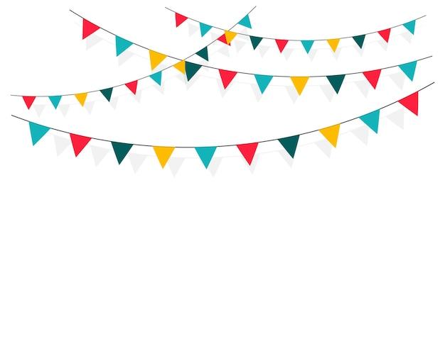 Satz karneval, flaggengirlanden lokalisiert auf weiß