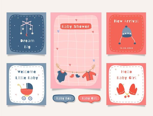 Satz karten mit niedlicher illustrationsbabyparty-themengrafik für journaling, aufkleber und sammelalbum.