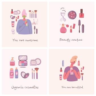 Satz karten von kosmetik- und körperpflegeprodukten für make-up um mädchen mit kosmetiktasche.