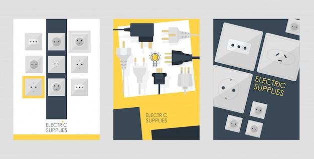 Satz kartenplakate der elektrischen versorgungsmaterialien