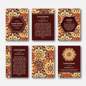 Satz kartenvorlagen mit handgezeichnetem mandalamuster. vintage orientalischer stil.