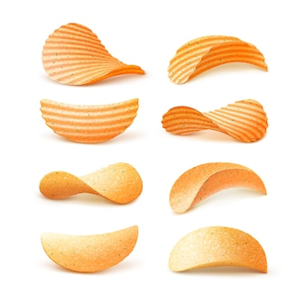 Satz kartoffelkräusel knusprige chips nahaufnahme isoliert