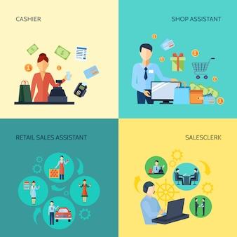 Satz kassiererverkäuferverkäufer und einzelhandelsverkaufshelfer