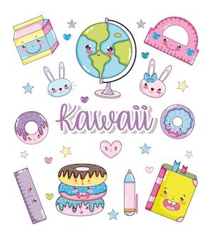 Satz kawaii karikaturen