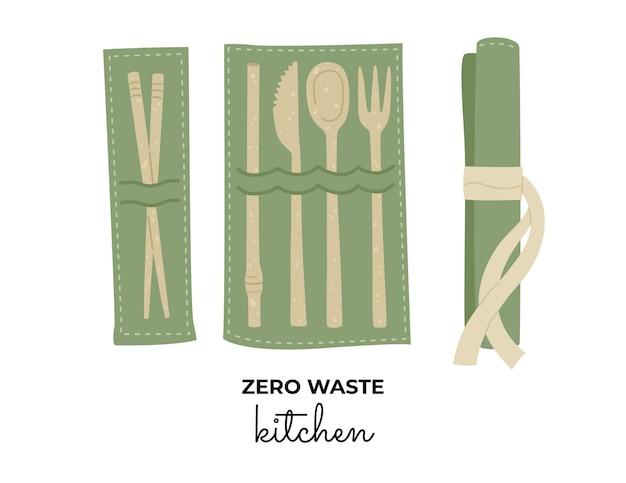Satz keramikbesteck und essstäbchen, stroh, messer, löffel und gabel. null-abfall-konzept, material recyceln.