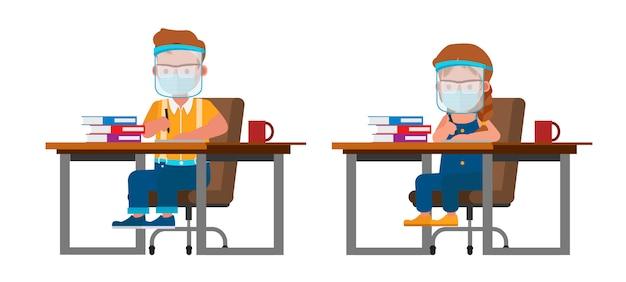 Satz kinder, die medizinische maske und gesichtsschutzcharakter tragen. präsentation in verschiedenen aktionen mit emotionen.