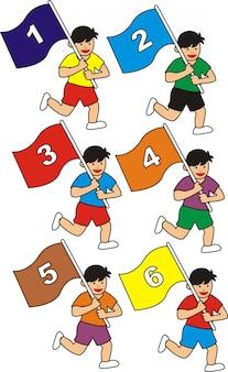 Satz kinder, die zahlflaggenvektorillustration tragen.