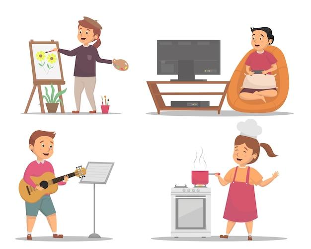 Satz kinder mit verschiedenen hobby