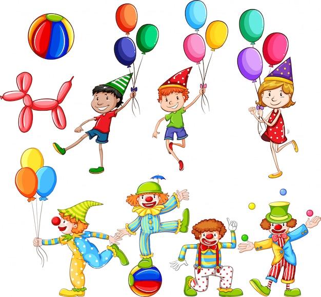 Satz kinder und clowns mit luftballons