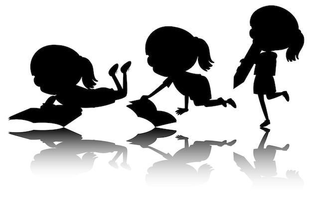 Satz kinderschattenbild mit reflex auf weißem hintergrund