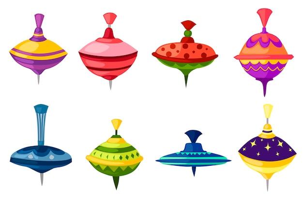 Satz kinderspielzeug-whirligig-spinner mit flacher vektorillustration der unterschiedlichen form- und beschaffenheitsmuster