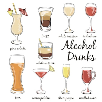 Satz klassische cocktails isoliert auf weiß