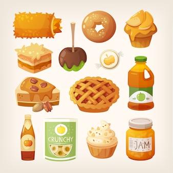Satz klassische gebackene herbstmahlzeiten, die sie von den äpfeln bilden können. in saft, marmelade und alkohol eingekochte äpfel.
