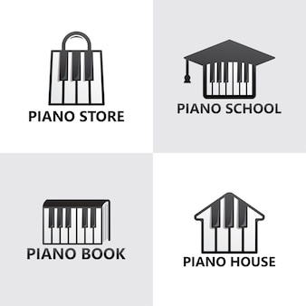 Satz klavier logo vorlage premium