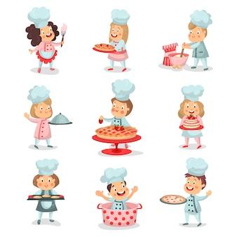 Satz kleine kochchefkinderkarikaturfiguren, die essen kochen und detaillierte bunte illustrationen backen