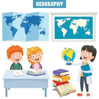 Satz kleine studenten, die geografie studieren
