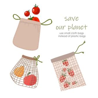 Satz kleine wiederverwendbare lebensmittel-öko-tasche lokalisiert vom weißen hintergrund. null abfall (sag nein zu plastik) und lebensmittelkonzept.