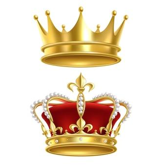 Satz königliche kronenillustrationen