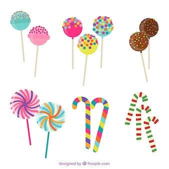 Satz köstliche süßigkeiten in der flachen art