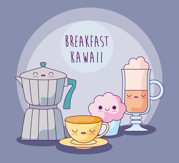 Satz köstliches lebensmittel zum frühstück kawaii art