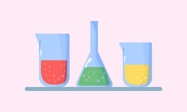 Satz kolben mit illustration chemischer flüssigkeiten Premium Vektoren