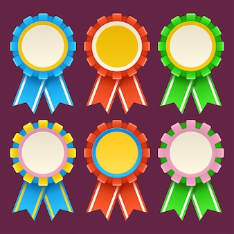 Satz koloful medaillen