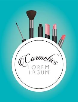 Satz kosmetik make-up kreisförmigen rahmen