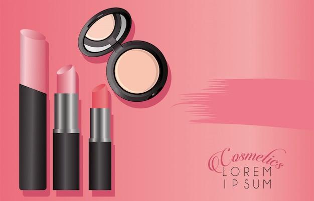 Satz kosmetik make-up lippenstifte und puder mit schriftzug